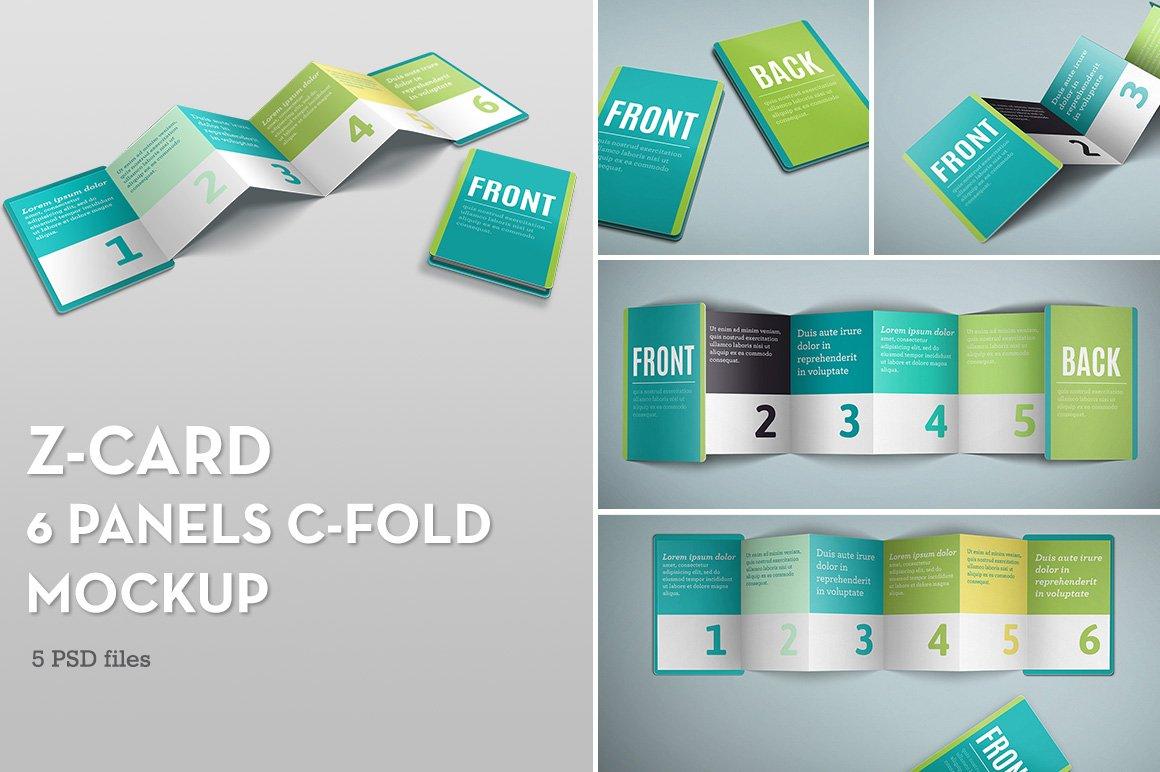 Z card mock up 6 panels c fold product mockups for 6 panel brochure template