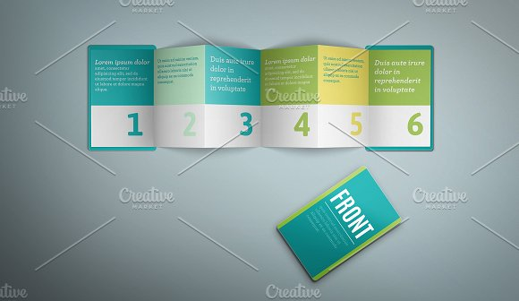 z card mock up 6 panels c fold product mockups creative market