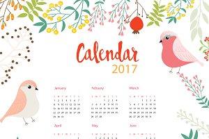 2017 Floral Calendar with bird