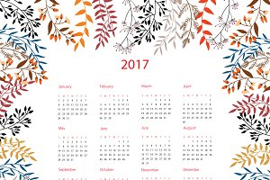 2017 Calendar with Autumn floral
