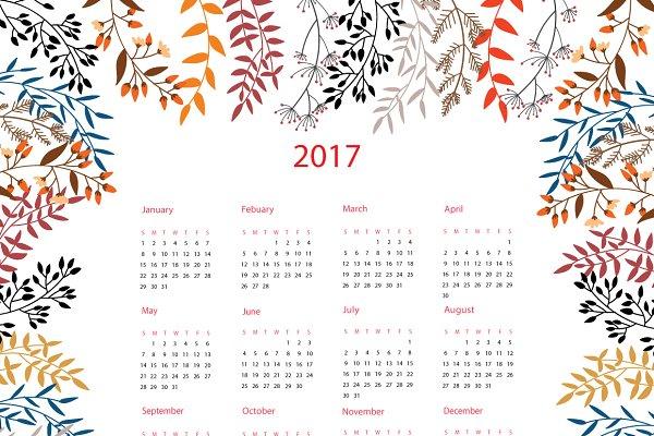 2017 Calendar with Autumn floral