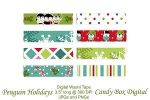 Penguin Holiday Washi Tape Clip Art