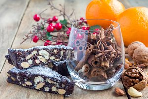 Panforte italian christmas dessert with nuts and candied fruits
