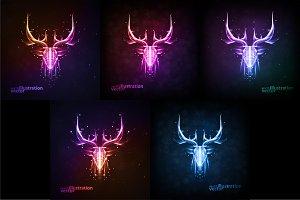 Neon deer head