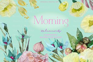 Morning Watercolor Floral clip art