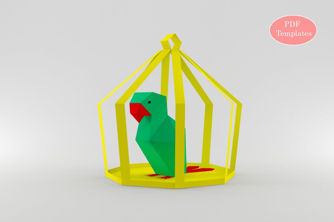 Diy Parrot In Cage 3d Papercraft Templates Creative Market Origamiorigami Macaw Parrotorigami Diagram