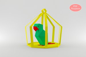 DIY Parrot in Cage - 3d papercraft