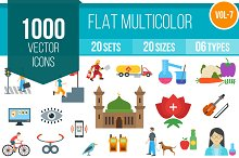 1000 Flat Multicolor Icons