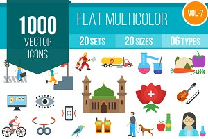1000 Flat Multicolor Icons (V7)
