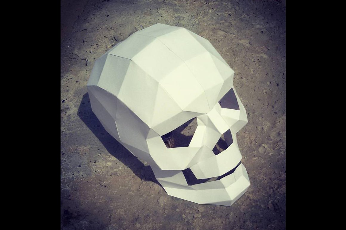 Diy paper skull model -3d papercraft ~ templates ~ creative market.