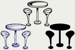 Bar table with two chairs SVG