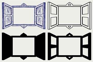 Open wooden window SVG