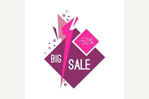 Advertising flashed big sale banner.