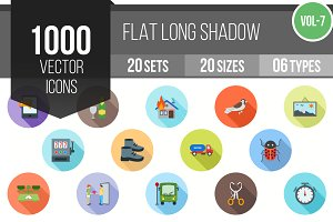 1000 Flat Shadowed Icons (V7)