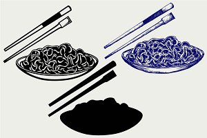 Noodle with chopsticks SVG