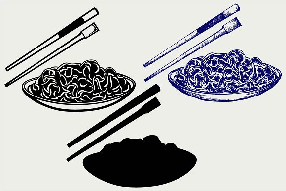 Noodle With Chopsticks SVG DXF
