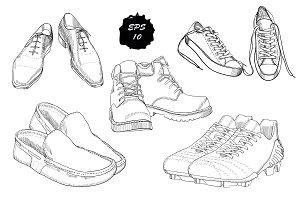 Doodle men's footwear (vector)