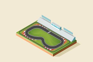 Isometric Illustration - Race Track