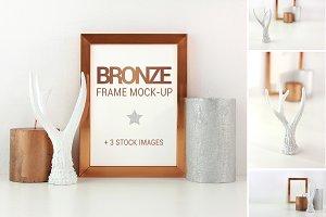Bronze frame mockup + stock photos