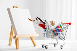 Shopping cart with artistic goods