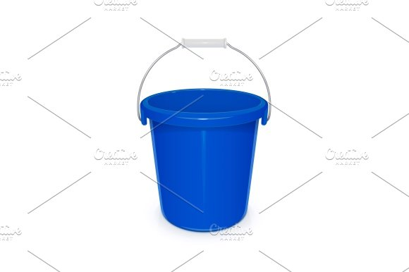 Blue Plastic Empty Bucket With Handle For Cleaning And Housekeeping