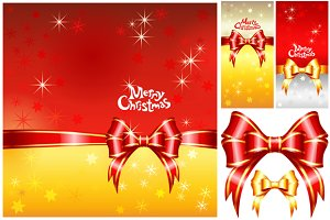 Greeting card with Christmas ribbons