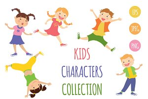 Collection cartoon kids characters