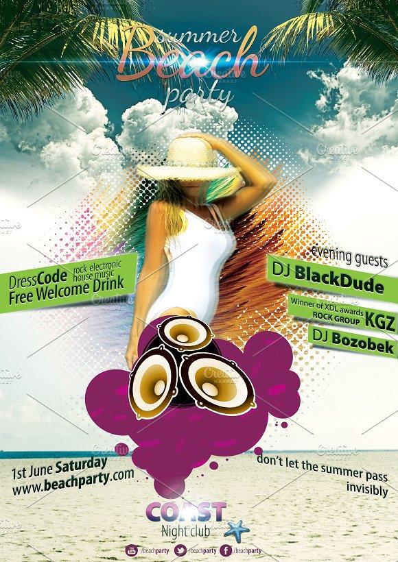 beach party flyer flyer templates creative market