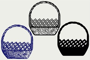 Empty wicker basket SVG