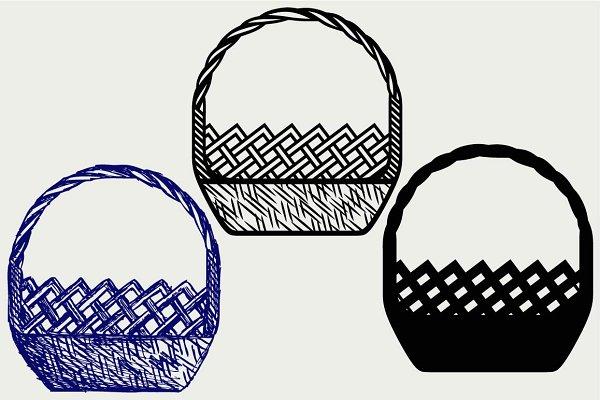 Empty wicker basket SVG