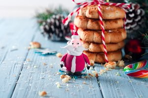 Santa Claus and Homemade Christmas cookie with decoration