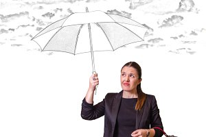 Girl with drawing umbrella under sky
