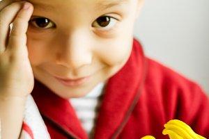 Child portrait with plasticine work