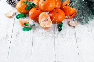 Christmas composition with tangerines