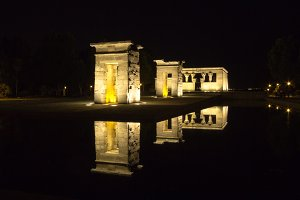 Temple of Debod at night, in Madrid