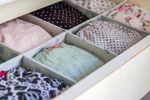 Female underwear ordered in wardrobe