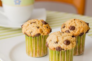 Chocolate chip muffins for breakfast