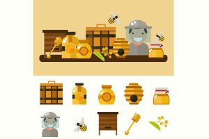 Flat honey product set