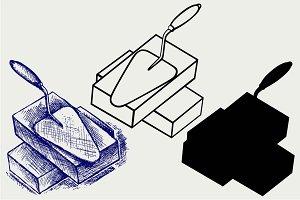 Trowel and bricks SVG