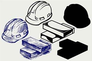 Hard hat and bricks SVG