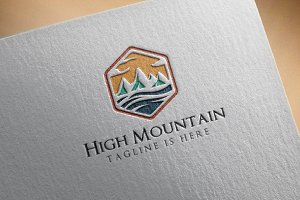 4 High Mountain Logo in Hexagon