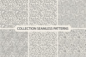 Hand drawn seamless curly patterns.