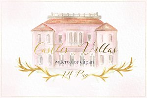 Castle & villa watercolor clipart