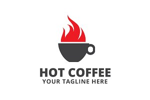 Hot Coffee Logo Template