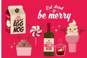 christmas food and drinks vector