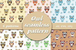 Owl seamless pattern