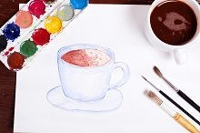 watercolor drawing of a blue cup