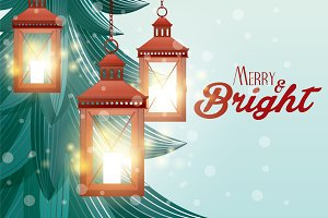 christmas lanterns vector