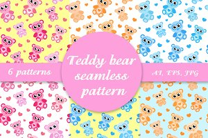 Teddy bear seamless pattern