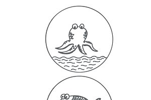octopus and fish, sketch style